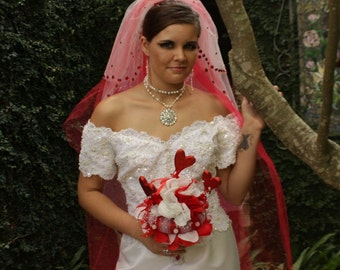 Rougish Red Veil - Bridal Headpiece - Blusher Veil - Bridal Veils And Headpieces - Rhinestone Veil - Wedding Veil - Bridal Accessories