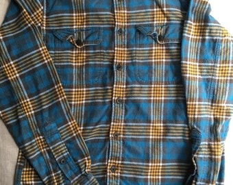Vintage Womens size small blue and yellow Plaid 100% cotton Flannel Shirt hand embroidered vintage floral patch Three Whiskers Farm inspired