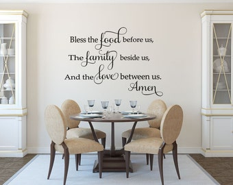 Kitchen Wall Decal   Family Wall Decal   Bless The Food Before Us Wall Decal