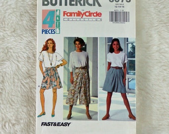 Skirt Culottes, M L, Butterick 6073 Pattern, Split, Waistband, Front Pleats, Back Zipper, 1992 Uncut, Size 12 14 16