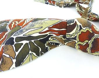 Vintage handsewn in Italy for Nordstrom Art Camo silk necktie in brown, rust & camo green