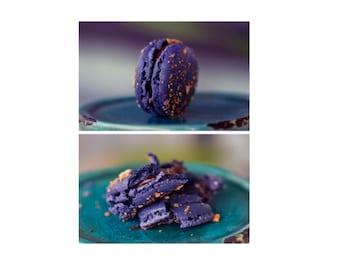 Purple Macaron Photo Set - Food Fine Art Photography, Food Photo Set, Macaron Wall Art, Art For Kitchen, Apartment Decor, Cute Photo Gifts