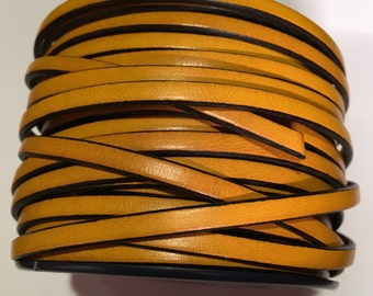 1 METER Sunflower Yellow with Black Trim 5mm Flat Leather strap