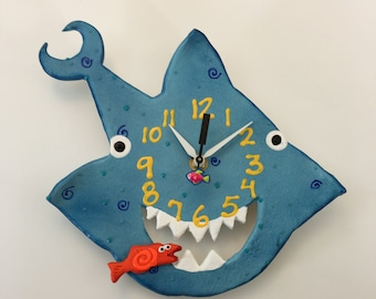Kids Clock, Shark  Clock ,Child's clock ,Housewares,Nursery Clock ,Gift Clock