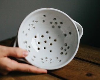 Small White Colander or Berry Bowl