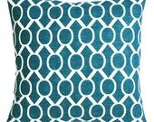 Dark Teal Blue & White Trellis Decorative Throw Zipper Pillow Cover Body pillow 14x36 16x16 12x21 20x20 28x28 30x30 22x22 Turquoise Pillow