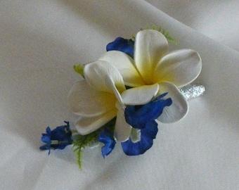 Plumeria Frangipani with Blue Orchid Shoulder Corsage