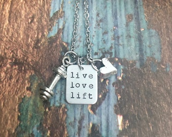 Barbell Necklace Live Love Lift Fitness Jewelry Great Fitness Gift for Weightlifting and CrossFitting Motivational Necklace