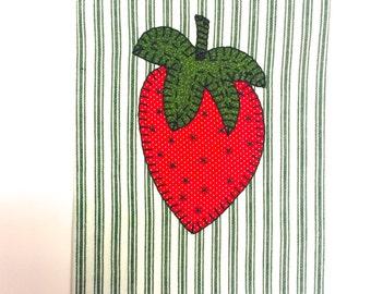 Applique Tea Towel, Fruit Applique, Strawberry Applique, Strawberry Applique Tea Towel, Applique Kitchen Towel, Summer Applique Tea Towel