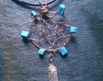 Copper Wire Wrapped Turquoise and Quartz Crystal Point Dream Catcher Leather Necklace