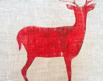Hand printed linen tea-towel.
