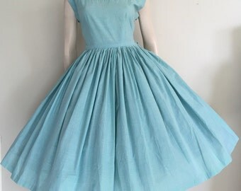 Gorgeous 50s 60s Blue Green Polka Dot Party Dress / Full Skirt / Medium Large / Rockabilly / Novelty