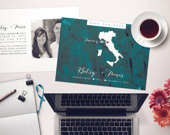 Save the Date Postcard - Turquoise Watercolor