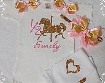 Half Birthday Gold Glitter Carousel And Light Pink Onesie Hairbow And Leg Warmers