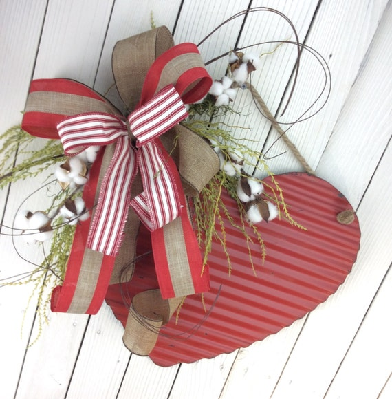 Valentine Cotton WreathRustic Heart Door Swag Valentine By
