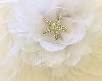 Beach Bridal Rhinestone Starfish Fascinator. White Chiffon Lace Flower Fascinator, Destination Wedding, Bridal, Flower Girl, Dance Costume,