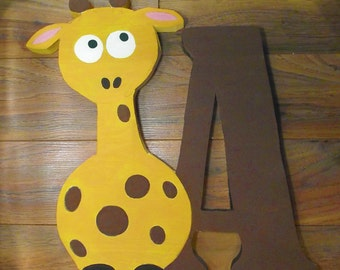 Wooden Giraffe with Initial