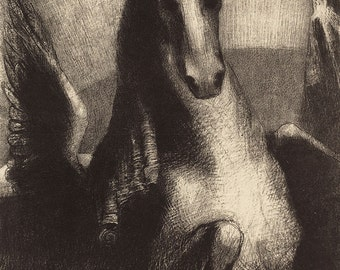 "Odilon Redon : ""The Wing"" (1893) - Giclee Fine Art Print"