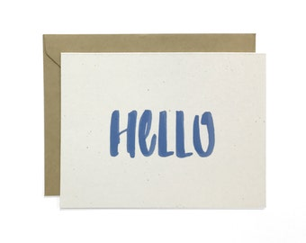 Hand Lettered Hello Card, Recycled Any Occasion Card, Card Pack