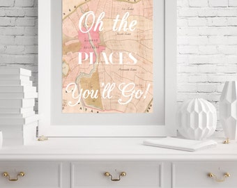 Nursery World Map- Oh the Places You'll Go- Kids Room Decor- World Map Print