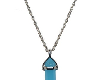 Blue Jade Natural Crystal Stone Silver Necklace
