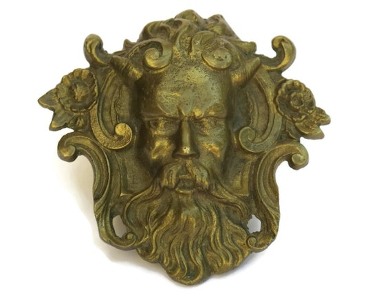 Brass green man door knocker plate architectural salvage - Greenman door knocker ...