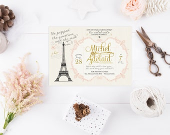 Vintage French Bridal Shower Invitations or Paris Engagement Party Invites - Adelaid