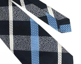 1970s Navy & Blue Checked Tie