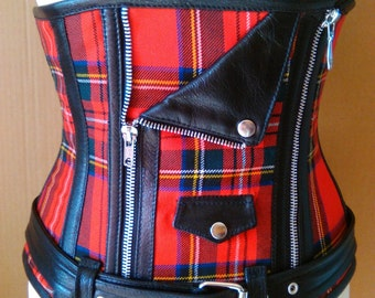 Corsetry Underbust Perfecto leather and tartan