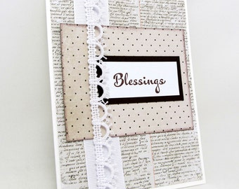 Blessings - Wedding Card - Engagement Card - Baptism Card - Religious Card - Brown and White - Vintage Style - Simple and Elegant
