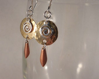 Hammered Brass Earrings with Sterling Silver Ear Wires