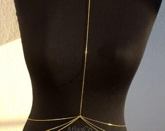 SHIPPING in by Express Cargo 3 Drape Gold Body Chain,Body Jewelry, Beach Jewelry