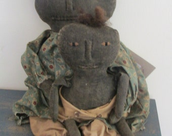 Primitive Black Doll with Child
