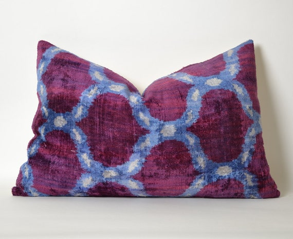 Purple Velvet Decorative Pillows : Throw pillows purple velvet ikat pillow cover Cushion Purple