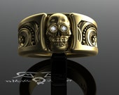 Skull wedding band. Wide solid 14kt gold and diamonds. Scrollwork Wayward Steampunk Victorian Western engravings. Wide Mens Skull Ring.