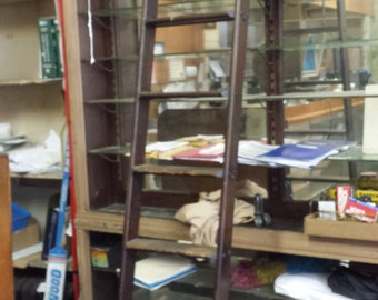 Vintage Library Pharmacy Rolling Ladder With Rail Circa 1930's
