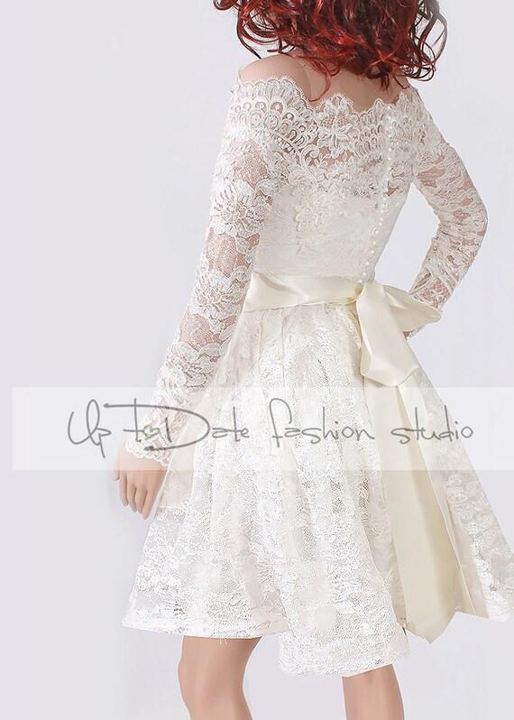 Lace short plus size reception wedding dress off shoulder for Plus size dress for wedding reception