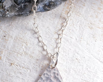 Sterling silver hammered triangle charm chain necklace triangle necklace