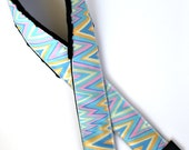 Pastel zig zag chevron SLR camera strap with neck pad and tripod mount spinner