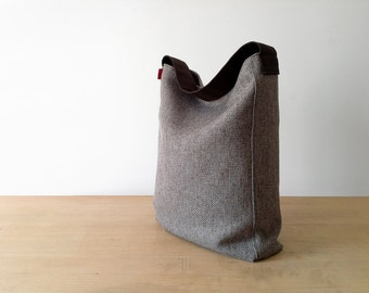 Hobo bag, tote bag, fabric bag, large bag, hemp bag, made in Italy.