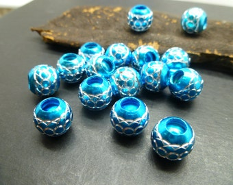 20  Blue Large Hole Beads - European Style charms bracelets beads - Alluminum Beads -EB077