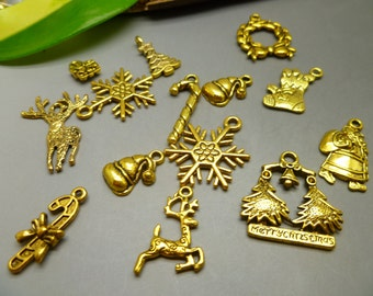 BULK - 20 Christmas charms Collection Mixed Charms  Antique Tibetan Gold Charms - Assorted Designs -  MC1113