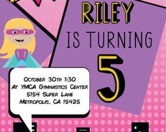 Girls Super Hero Birthday Invite