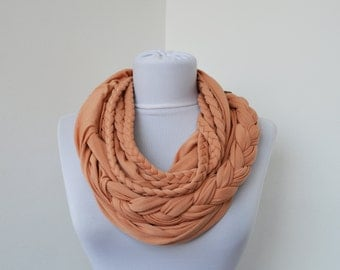 Light Cinnamon Scarf Infinity Jersey Scarf Partially braided Circle Scarf Scarf Nekclace