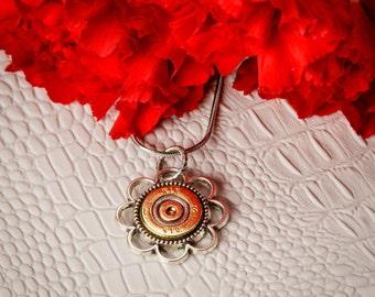 Shotgun Bullet Casing Jewelry - Large Flower Bullet Casing / Shell Necklace (410)