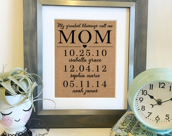 SALE My greatest blessings call me mom | Personalized Mother's Day Gift | Burlap Print Children's names and birthdates | Frame not included