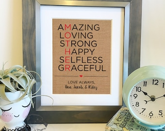 SALE Personalized Mother's Day Gift | Burlap Print | Mother of the Bride | Christmas Gift for Mom from Daughter or Son | Frame not included
