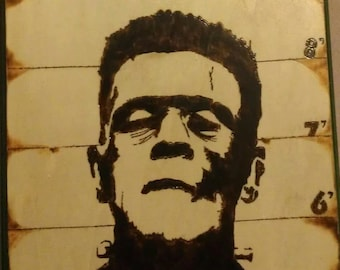 Frankenstein Monster's Mug Shot  wood plaque