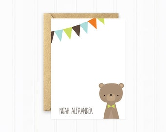 Kids Stationery, Bear Stationery Cards, Personalized Stationery, Striped Cards with Bunting Banner