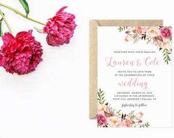Wedding Invitation Set, Watercolor Wedding, Boho Wedding Invitations